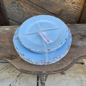 Tommy Bahama Set of 8 Melamine Plates Crackled Blue Rustic Indoor & Outdoor Use