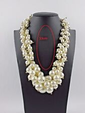 Fashion Gold Chain White Resin Pearl Chunky Choker Statement Bib Necklace US