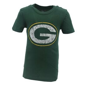 Green Bay Packers Official NFL Kids & Youth Girls Size Distressed T-Shirt New