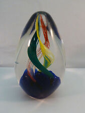 Vintage Blown Glass Paperweight Egg Art Glass Twist Green Red Yellow Blue 4.5 in