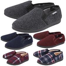 DUNLOP Mens Memory Foam Plush Fleece Lined Moccasin Slippers Plain Check Patten