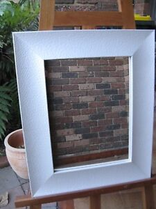 Decorative Wall Mirror Pearlescent White Dimple Wood Frame 53x44cm