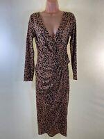 BNWT LIPSY brown leopard print v-neck stretch jersey midi dress size 10 eu 38