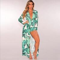 Woman Long Sleeve dress Banana Leaf Printed Split Maxi Romper dress S-XL 2Style