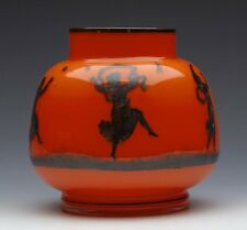 ANTIQUE AUSTRIAN ART GLASS VASE WITH DANCING MAIDENS EARLY 20TH C.