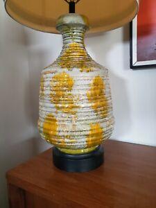"Vtg Mid Century Modern Ceramic Drip Lava Glaze Table Lamp * 33"""