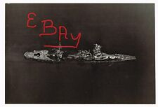 WWII RARE UNP PHOTOGRAPH 8X10 AERIAL OVER SUNKEN JAPANESE SHIP HYUGA KURE VIEW#4