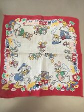 Vintage Walt Disney Child Hanky Donald Daisy Huey Louie Dewey Train Handkerchief