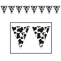 COW PRINT PENNANT BANNER COUNTRY WESTERN FARM ANIMAL PARTY HANGING DECORATION