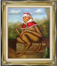 Framed, Quality Hand Painted Oil Painting, Monkey with Hat Repro, 20x24in