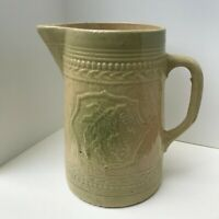 Antique Stoneware Yellow Salt Glaze Large Pitcher with Grape Pattern,Circa 1900s