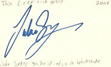 John Sykes Guitarist Thin Lizzy Whitesnake Rock Band Signed Index Card JSA COA