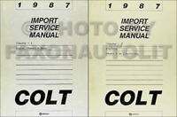 1987 Dodge and Plymouth Colt Shop Manual 2 Volume Set Repair Service Books