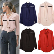 Women Long Sleeve Bow Tie Office Ladies T Shirt Casual Loose V Neck Blouse Tops