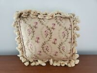 Tasseled Floral Rose Needlepoint Pillow Cover Zip Feather Down Insert Preowned