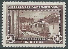 1932 SAN MARINO FERROVIA RIMINI SAN MARINO 5 LIRE MNH ** - X15