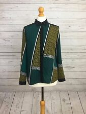 M&S Collection Womens Green Mix Long Sleeve Aztec Print Petite Shirt Blouse UK 8