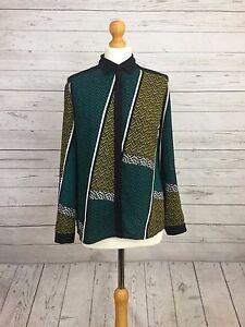 M&S Collection Womens Green Mix Long Sleeve Aztec Print Petite Shirt Blouse UK 8