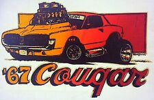 Original Vintage 1967 Mercury Cougar Iron On Transfer U.S. Muscle Car