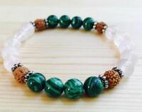 7.5inches Sutra Monk Reiki men 8mm Natural malachite crystal bracelet Handmade
