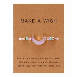 Handmade Make A Wish Natural Stone Pink Moon Braided Bracelet Women Jewelry Gift