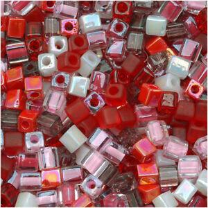"Miyuki 4mm Cube Beads Mix Lot ""Strawberry Fields"" 10 Gr"