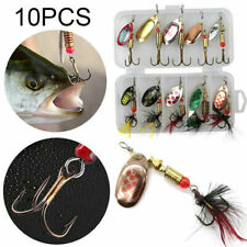 10PCS Spinners Size 2 in pocket lure box Perch Salmon Pike trout Fishing Baits
