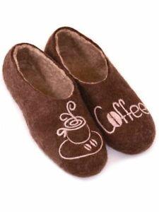 Russian Coffee Slippers Felt 100% Handmade Valenki Woole Brand