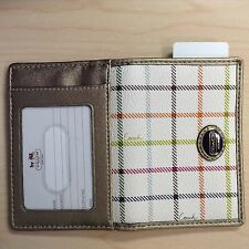 Authentic Coach Peyton Tattersal Card ID Case White Multicolor Gorgeous New