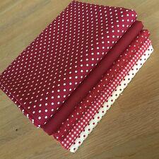 DEEP RUBY RED BURGUNDY WINE Fat Quarter Bundle stars & spots fabric 100% cotton