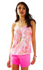 Lilly Pulitzer Pixie Silk Tank Top, Trunk In Love, Hot Coral size XS NWT