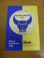15/11/1980 Oxford United v Chester  . Footy Progs (aka bobfrankandelvis) are ple