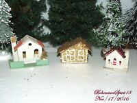 RARE Antique JAPAN 1920's paper CHRISTMAS Putz village THREE BEADED ROOF HOMES