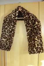 Handmade, leopard print fake fur, satin lined thick scarf - lovely gift