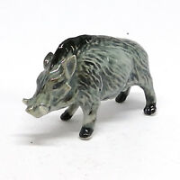 Miniature Ceramic Boar Figurine Wild Animal Pig Statue Garden Home Decor