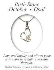 Angelys October Birthstone Opal Heart Pendant Necklace Birthday Xmas Gift Box