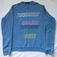 Dsquared2 Mens Sweatshirt Jumper Light Blue Long Sleeves Round Neck Size L
