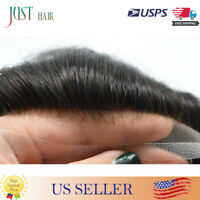 Full French Lace Mens Toupee Hair System Replacement Human Hair Black Hairpieces