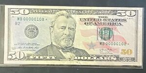 2013 $50 U.S Star Note Bill with Low Serial# MB00000108, Unique Low Serial# Note