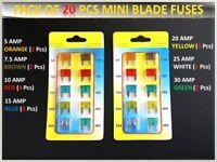 20PCS AUDI CAR VAN MINI FUSES SET ASSORTED SMALL BLADE 5 7.5 10 15 20 25 30 AMP