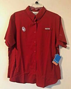 Columbia Womens Tamiami II OU Sooners Short Sleeve Crimson sz XL $55 for $23 NWT