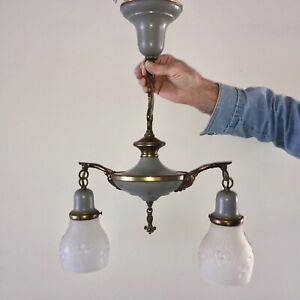 VINTAGE VICTORIAN DOUBLE LIGHT CEILING FIXTURE Brass and Grey