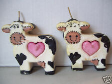 Set Of 2 Black White & Pink Sculpted Wax Candle Cow Shape Home Decor Figurine