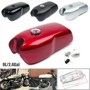 9L/2.4Gallon Vintage Motorcycle Cafe Racer Seat Fuel Gas Tank & Cap Switch Steel