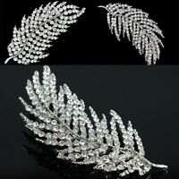 Silver Crystal Feather Bridal Glass Rhinestone Brooch Pin Bouquet Women Jewelry
