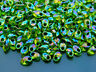 10g Miyuki Long Magatama 4x7mm Seed Beads Green Lined Chartreuse AB