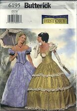 Butterick Costume Sewing Pattern 6195 Southern Belle Gown Size 6-8-10 Uncut