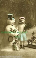 c1900 French Christmas Real Photo~Pretty Girl~Snowman~Doll~Horse~NEW Lg Cards