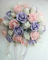 Wedding Flowers, Posy Bouquet  Ivory Baby Pink, Light lilac roses with tulle