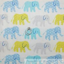 BonEful Fabric FQ Cotton Quilt White Blue Green Elephant Circus Baby Stripe Dot